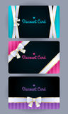 Discount cards with bow and ribbons set Royalty Free Stock Photo