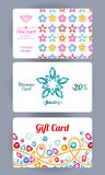 Discount cards with gemstones flowers and chains Stock Photo
