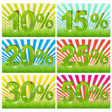 Discount Cards With Green Figures. Vector. Set Of Discount Cards With Green Figures In Grass, Isolated on white Stock Photos