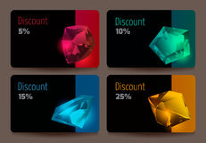 Discount cards with precious stones. Stock Image