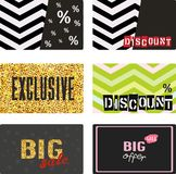 Discount cards, promo label set of Exclusive, Big offer, Big Sale. Vector illustration. Royalty Free Stock Photography