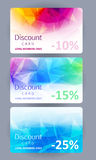 Discount cards set. Abstract background. Discount gift cards set. Abstract mosaic faceted background Royalty Free Stock Images