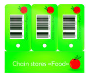 Discount of chain stores. Three green token of chain stores Royalty Free Stock Photo