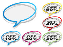 Discount chat stickers Stock Images