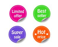 Discount circle sticker with curled corner marketing promotion s vector illustration