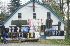 Discount clothes for sale at roadside store, NJ Stock Images