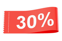 30% discount clothing tag. 3D rendering Stock Photography