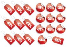 Discount collection. Collection of percentage discount tags and labels Stock Image