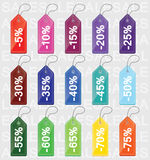 Discount colored price tags Stock Image