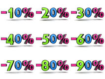 Discount coluured. Coloured percent set (isolated, shadow is easily cut royalty free illustration