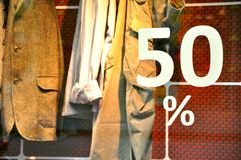 Discount concept of a clothing store royalty free stock photos