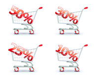 Discount concept. Vector illustration set of discount concept with shopping cart containing different percentage of sale Stock Illustration