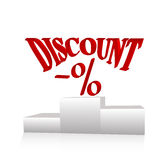 Discount concept. Red discount text on white background Royalty Free Stock Image