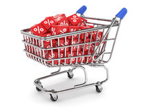Discount concept. 3d render of shopping cart with percent boxes. Discount concept Royalty Free Illustration