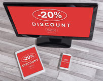 Discount concept on different devices. Discount concept shown on different information technology devices royalty free illustration