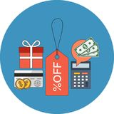 Discount concept. Flat design. Icon in blue circle on white background royalty free illustration