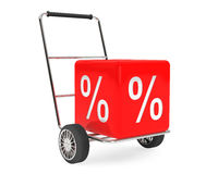 Discount Concept. Hand Cart with Percent Cube Stock Photo