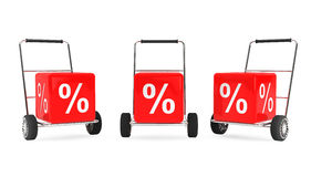 Discount Concept. Hand Carts with Percent Cubes Royalty Free Stock Images