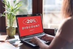 Discount concept on a laptop screen. Laptop screen displaying a discount concept Stock Photos