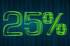 Discount concept, 25 percent luminous inscription, 3D rendering. Discount concept, 25 percent luminous inscription, 3D Royalty Free Stock Photo
