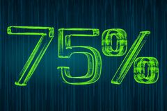 Discount concept, 75 percent luminous inscription, 3D rendering Royalty Free Stock Image
