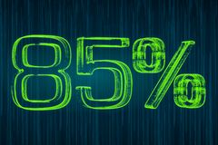 Discount concept, 85 percent luminous inscription, 3D rendering. Discount concept, 85 percent luminous inscription, 3D vector illustration