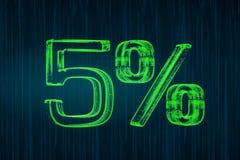 Discount concept, 5 percent luminous inscription, 3D rendering Stock Photo