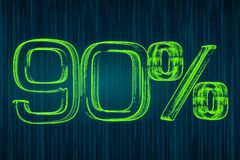 Discount concept, 90 percent luminous inscription, 3D rendering Royalty Free Stock Photography