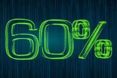 Discount concept, 60 percent luminous inscription, 3D rendering. Discount concept, 60 percent luminous inscription, 3D Stock Photos