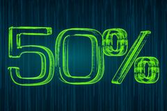Discount concept, 50 percent luminous inscription, 3D rendering Royalty Free Stock Image