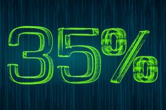 Discount concept, 35 percent luminous inscription, 3D rendering Royalty Free Stock Photo