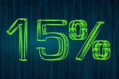 Discount concept, 15 percent luminous inscription, 3D rendering Stock Image
