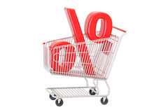 Discount concept, red percent sign in the shopping cart. 3D rend Stock Photos