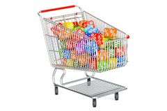 Discount concept with shopping cart. 3D rendering Stock Photos