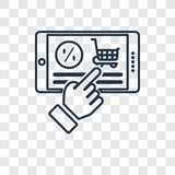 Discount concept vector linear icon isolated on transparent back. Ground, Discount concept transparency concept in outline style stock illustration