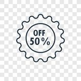 Discount concept vector linear icon isolated on transparent back. Ground, Discount concept transparency concept in outline style vector illustration