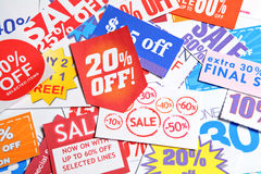 Discount coupon. Group of the Discount coupon Royalty Free Stock Image
