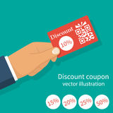 Discount coupon hold in hand Royalty Free Stock Photo