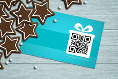 discount coupon lying on tablecloth with place for text Royalty Free Stock Image
