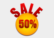 Discount coupon 50 percent on a yellow circle Stock Photo