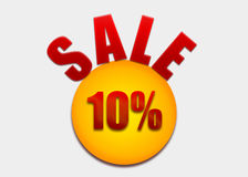 Discount coupon 10 percent on a yellow circle Stock Image