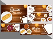 Discount coupon or voucher set with 50% off for Russian cuisine. Restaurant vector illustration