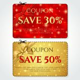 Discount Coupon, Voucher vector. Golden stars layout template with red holiday bow. Abstract Christmas starry background. Save money tag 15 off, 50 off. Promo royalty free illustration