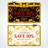 Discount Coupon, Voucher vector. Golden stars layout template with red holiday bow. Background template with gold holiday bow, rainbow line pattern. Save money stock illustration