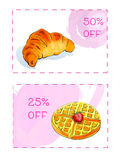 Discount coupons for dessert. Royalty Free Stock Image