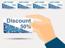 Discount coupons in hand. 50-percent discount. Special offer. Se. T gift card. Vector royalty free illustration