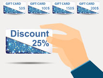 Discount coupons in hand. 25-percent discount. Special offer. Se. T gift card.  Vector illustration Royalty Free Stock Image