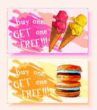 Discount coupons for ice cream and macaroons. Stock Photography