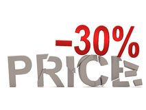 A discount of 30 % for the cracked decals price. Stock Image