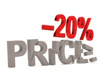 A discount of 20 % for the cracked decals price. A discount of 20% for the cracked decals price. 3d sale render Royalty Free Stock Photography